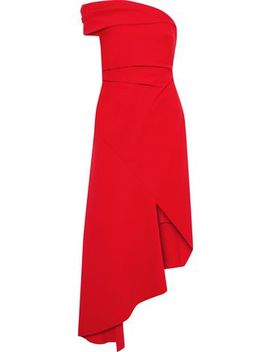 One Shoulder Asymmetric Cady Midi Dress by Oscar De La Renta