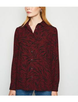 Red Tiger Print Long Sleeve Shirt by New Look