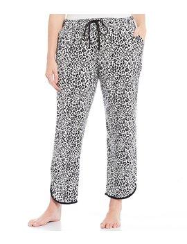 Plus Leopard Print Cropped Knit Sleep Pants by Sleep Sense