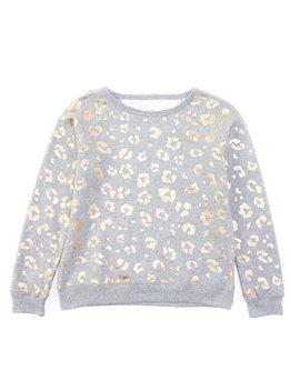 Girls Little Girls 2 T 6 X Foiled Leopard Print Fleece Sweatshirt by Gb