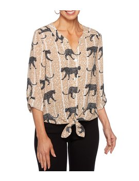 Waltzing Cheetah Print Roll Tab Tie Hem Button Front Top by Ruby Rd.