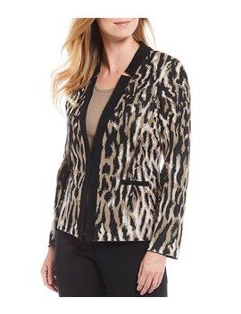 Cheetah Print Notch Collar Jacket by Ming Wang