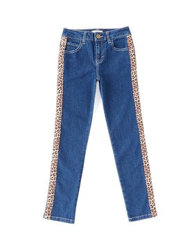 Gb Girls Big Girls 7 16 Leopard Side Stripe Skinny Jean by Gb