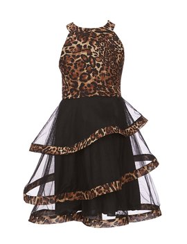 Big Girls 7 16 Cheetah Printed Fit And Flare Dress by Poppies And Roses
