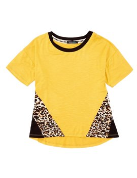 Big Girls 7 16 Short Sleeve Leopard Print/Colorblock Tee by Takara