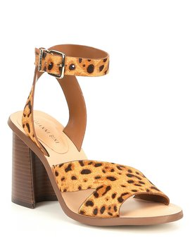 Marilane Leopard Haircalf Asymmetrical Wooden Block Heel Sandals by Gianni Bini