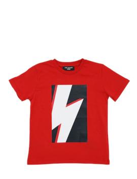 3 D Thunder Print Cotton Jersey T Shirt by Neil Barrett