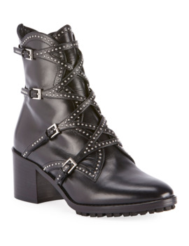 Studded Wrap Buckle Booties by Alaia