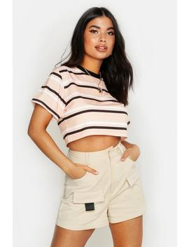 Petite Striped Crop Ringer T Shirt by Boohoo