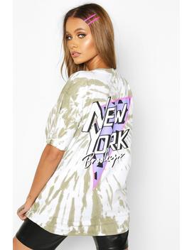 Tie Dye Back Print New York T Shirt by Boohoo