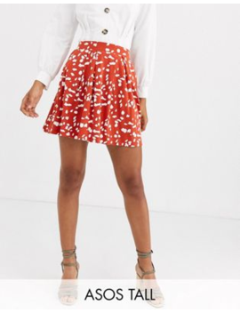 Asos Design Tall Mini Skirt With Box Pleats In Abstract Animal Print by Asos Design