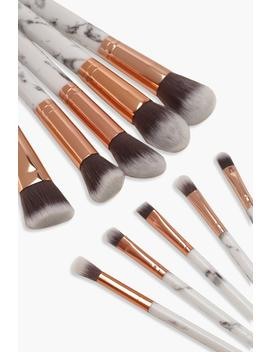 10 Piece Rose Gold Marble Make Up Brush Set by Boohoo