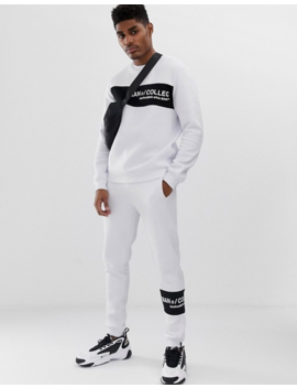 Boohoo Man Joggers With Contrast Panel In White by Boohoo Man