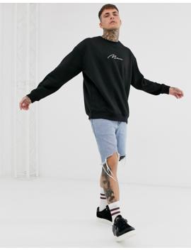 Boohoo Man Oversized Sweatshirt With Man Embroidery In Black by Boohoo Man