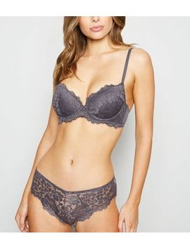 Dark Grey Lace Brazilian Briefs by New Look