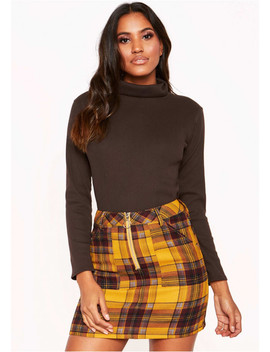 Chocolate Ribbed Roll Neck Top by Missy Empire