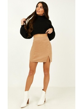 The Smiths Skirt In Tan Cord by Showpo Fashion