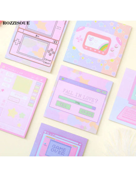 3 Pcs Kawaii Computer Game Memo Pad Machine Self Adhesive Planner Post It Cute Sticky Notes Notepad School Stationery Supplies by Ali Express