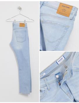 Jack & Jones Intelligence Slim Fit Abrasion Jeans In Light Wash by Jack & Jones