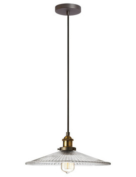 Wilson Single Pendant With Ribbed Glass, Vintage Steel by Dainolite Ltd.