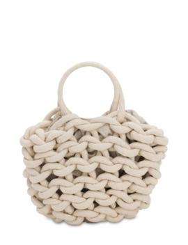 Julia Rope Bucket Cotton Top Handle Bag by Alienina
