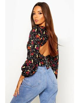 Floral Sweatheart Tie Back Blouse by Boohoo