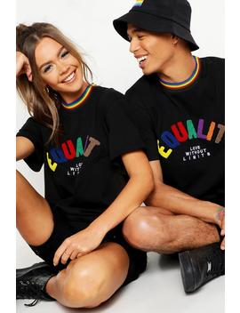 Pride Loose Fit T Shirt With Equality Applique by Boohoo