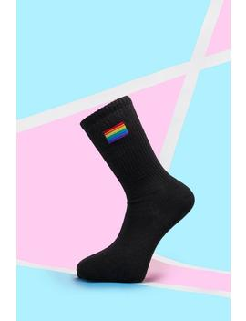 Pride Rainbow Embroidered Sport Sock by Boohoo