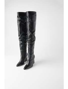 Leather Geometric Heel Boots With Xl Leg Boots And Ankle Boots Shoes Woman by Zara