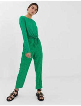 Monki Triangle Dot Print Peg Trousers In Green by Monki