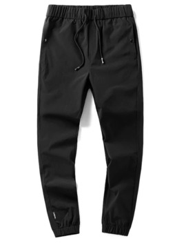 Drawstring Solid Color Side Pocket Jogger Pants   Black Xs by Zaful