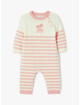 John Lewis & Partners Baby Gots Organic Cotton Bunny Knit Romper by John Lewis & Partners