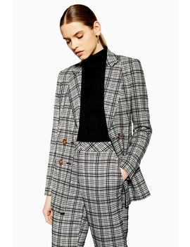Black And White Check Blazer by Topshop