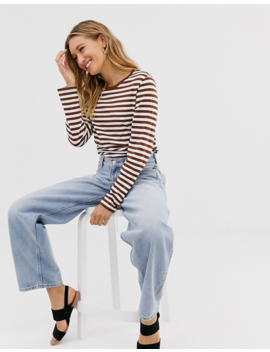 Monki Organic Cotton Long Sleeve Crew Neck Top In Rust And White Stripe by Monki