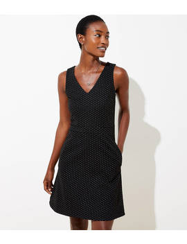 Petite Dot Jacquard Pocket Flare Dress by Loft