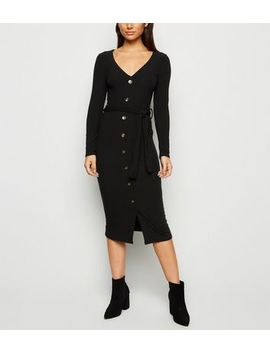 Petite Black Ribbed Belted Button Midi Dress by New Look