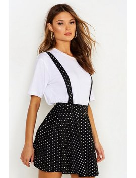 Polka Dot Pinafore Skirt by Boohoo
