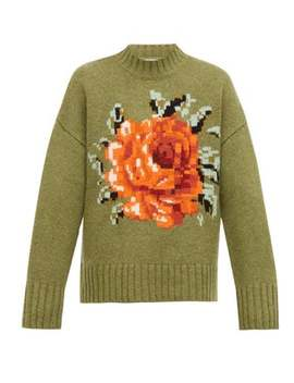 Oversized Floral Intarsia Wool Sweater by Ami