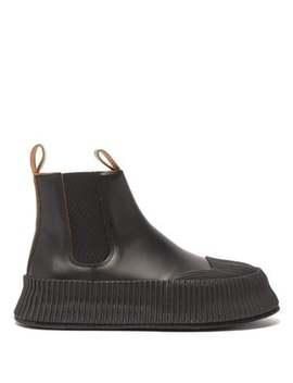 Flatform Leather Chelsea Boots by Jil Sander