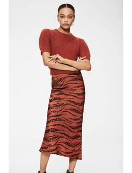 Bar Silk Skirt   Rust Zebra by Anine Bing