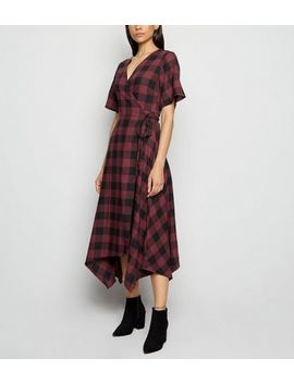 Innocence Red Check Wrap Midi Dress by New Look
