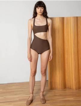 Brown Asymmetric Swimsuit by Pixie Market