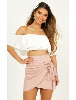Not Happening Skirt In Blush Linen Look by Showpo Fashion