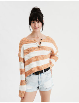 Ae Henley Boxy Cropped Sweater by American Eagle Outfitters