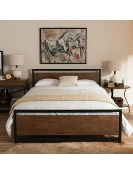 Gabby Vintage Industrial Medium Brown Finished Wood Full Size Bed by Baxton Studio