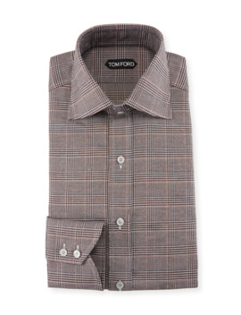 Men's Prince Of Wales Twill High Collar Dress Shirt by Tom Ford