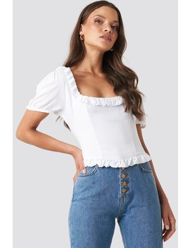 Colleen Cropped Frill Top White by Xlethelabel