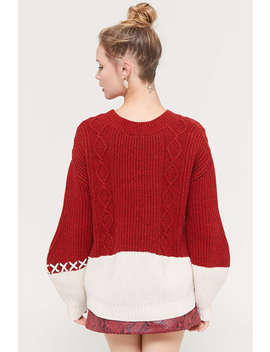 Even Vintage Cable Knit Cross Stitch Sweater by Even Vintage