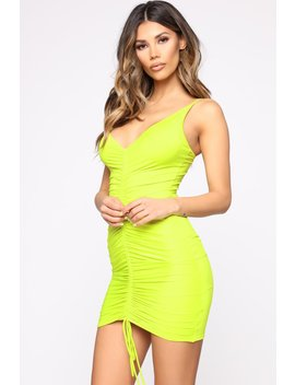 Shanghai Ruched Dress   Lime by Fashion Nova