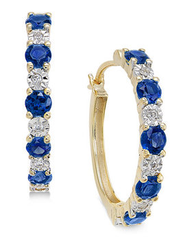 Sapphire (3/4 Ct. T.W.) And Diamond Accent Hoop Earrings In 14k Gold (Also Emerald And Certified Ruby) by General